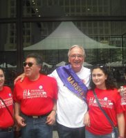 retired Congressman Tom Harken grand Marshall of the 2015 Disability Pride Parage with Horacio Esparza and family