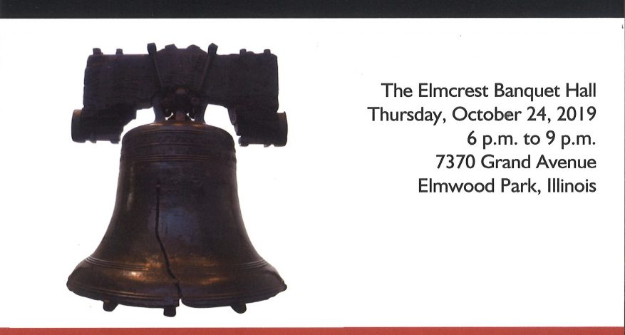Image of a Liberty Bell on a white background and black text on white background with information about the Progress Center Liberty Gala
