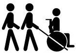 image of a piece of the Progress Center Logo, with icon of person with wheelchair, and two people walking, one with a cane.