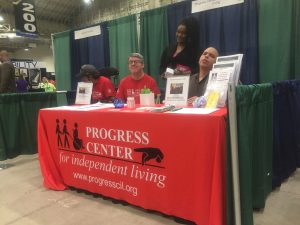 Image of Progress Center community members at Progress Center booth at the 2018 AccessChicago Expo