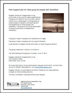 Flyer for Art and Peer Support Group. Flyer has one grayscale image of try against a horizon and information about the group