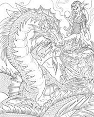 image of an eleborate pencil drawing representing a dragon and a human or elf type figure