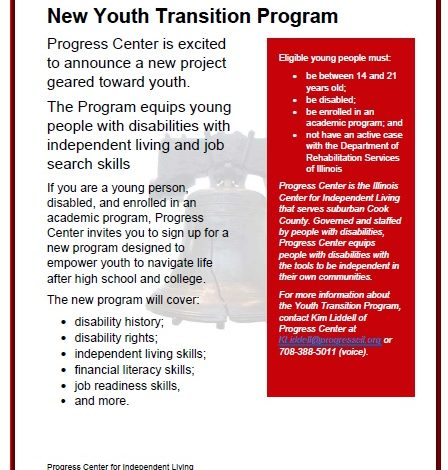 Image of Flyer for Youth Transition Program. Information on Flyer is in body of web page