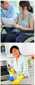 image of two people interacting, one in a wheelchair and one leaning down toward the wheelchair user. Person is wheelchair holding paper. Second image of person cleaning kitchen counter top.