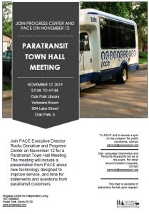 image with information about the town hall meeting on November and an image of a white pace bus with blue logo and blue lettering