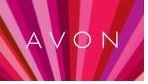 Image of the word AVON in white capital letters and a red, rose, and pink sunrise type design in the background