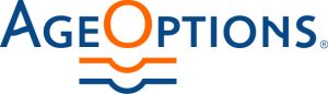 "Age Options logo, includes the two words ""Age Options,"" with a blue line and an orange line under the e in age, and the O and the P in Options."