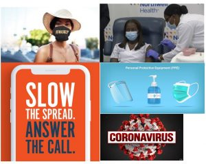 """different images and messages related to Covid-19. Images include MaskUp Campaign, a person receiving a vaccination, text """"Slow the Spread Answer the Call""""; image of PPE and text Coronavirus"""
