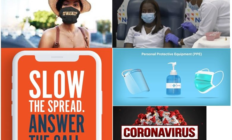 "different images and messages related to Covid-19. Images include MaskUp Campaign, a person receiving a vaccination, text ""Slow the Spread Answer the Call""; image of PPE and text Coronavirus"
