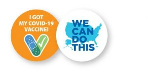 """Image with text sends two messages. One message reads -- """"We Can Do This"""" One message reads """"I got my Covid-19 Vaccine"""""""